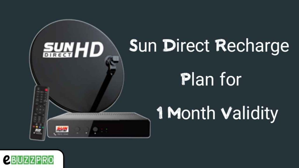 Sun Direct Recharge Plans For 1 Month