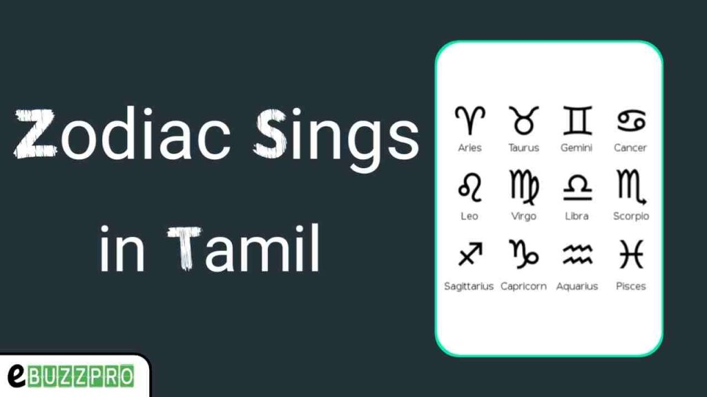 Zodiac Signs in Tamil and English with Symbols